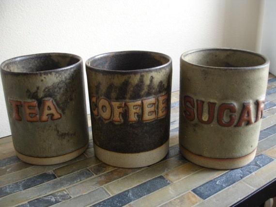 Set of 3 Stoneware Kitchen Jars