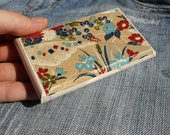 japanese style business card holder and display wooden and floral gitf for her christmas