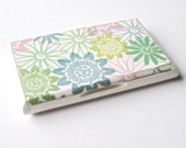 pastel business card holder and display mint colors and white floral unique gift for her