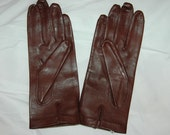 Vintage Madova brown leather gloves with a silk lining sz7 1/2