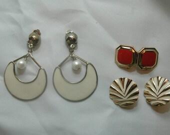 3 pair of enamel and goldtone clip on earrings