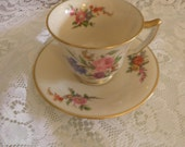 Vintage rare demitasse cup and saucer Black Starr and Gorham Fifth Ave New York City florals  MOTHERS DAY SALE