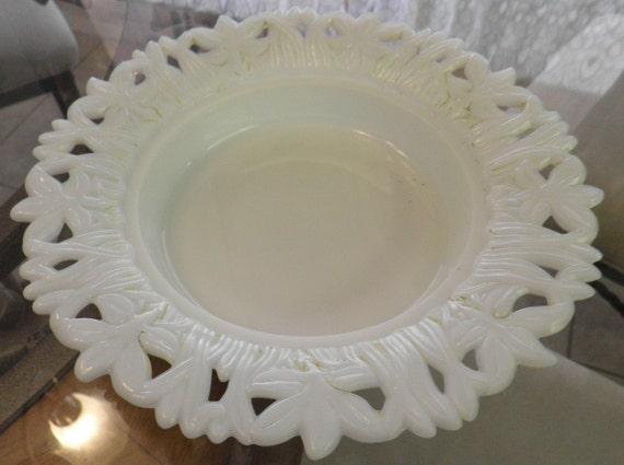 Victorian white milkglass milkglass butterdish bottom open edged flowers and leaves