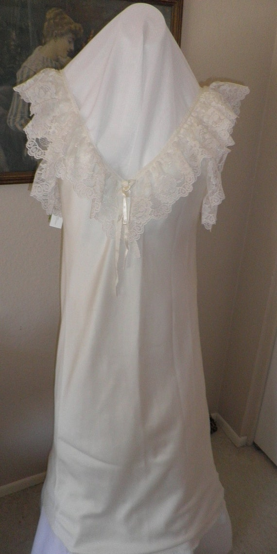 RESERVED FOR LadyHawke1977        Vintage ecru long nightgown with lots of lovely lace Made in USA size med