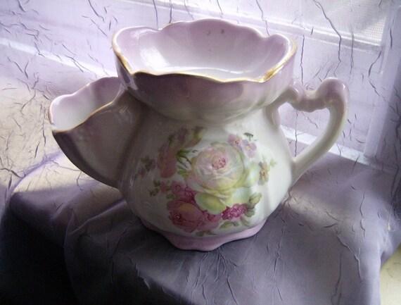 Vintage LADIES SHAVING MUG Nippon-like pattern of painted pink roses - Very pretty