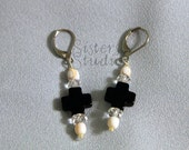 Black Quartz Cross and Strawberry Conch Shell Leverback Earrings, Free Shipping
