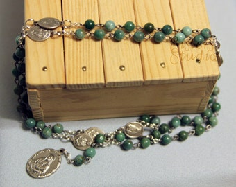 Rosary of the Seven Sorrows, African Jade and Our Lady of Sorrows Medals