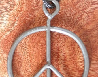 Vintage Recycled 1969 Woodstock Fence Peace Sign Necklace Pendant