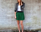 Emerald Green Mini Skirt- Striped Foral Paisley Print - Eco Friendly - Original Design ONE OF A KIND