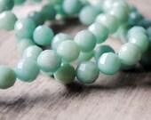Amazonite 8mm Faceted Round Gemstone Beads 1/2 Strand Light Sky Blue