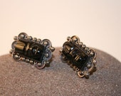 Pair of Traditional Mexican Black Obsidian and Silver Tribal God Earrings