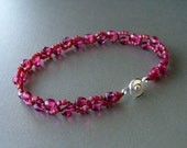 Crystal and Seed Bead Bracelet - SWEETWATER Series by BluDaisyJewelry (raspberry)