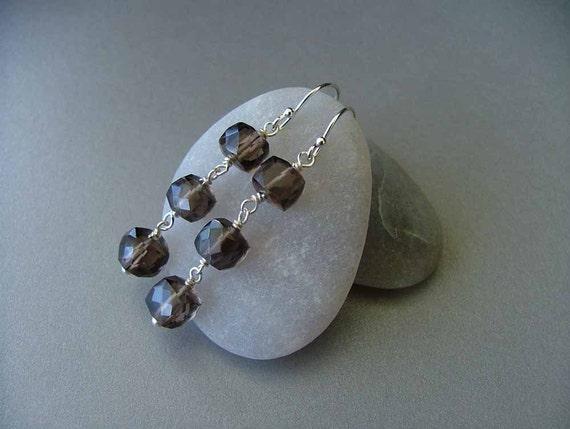 Smoky Quartz Faceted Cube Sterling Silver Earrings - EDGEWOOD Earrings by BluDaisyJewelry