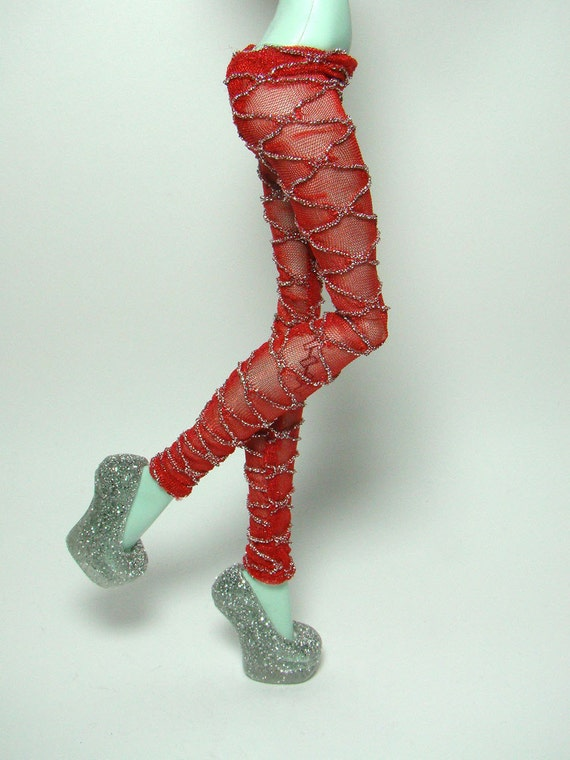 Red with silver lace leggings