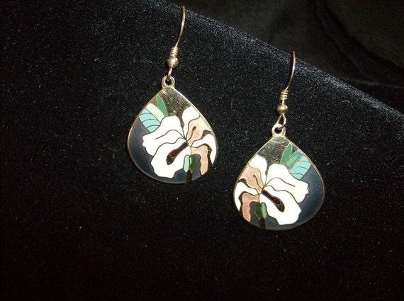 SALE-Vintage Enamel Earrings from the 70's