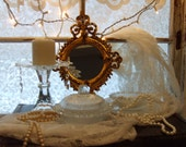 NEW ITEMS- Instant Collection-Cottage Chic-French Country-Shabby Candel Holder-Ornate Gold Mirror-Vintage Swiss Dot Covered Bowl-Home Decor