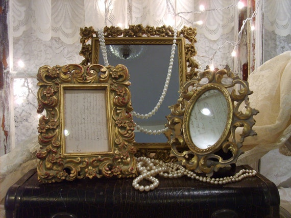 NEW ITEM- French Country-Hollywood Glam-3 piece Ornate Mirror and Picture Frame Set-Paris Apartment-Shabby Chic-Cottage Chic