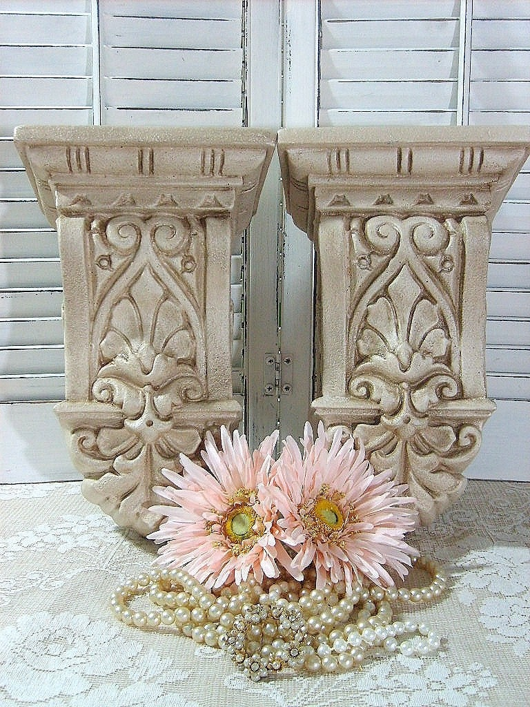 Set of 2 Curtain Rod Holders Corbels SconcesWall by flowerpeddlers
