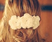 wedding accessory, hair accessory, 3 hair accessory, flower clip, bridal headpiece, lace and chiffon flowers, with crystals
