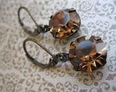 FREE SHIPPIING SALE Dark Brown Topaz Estate Style Vintage Swarovski Rhinestone Earrings