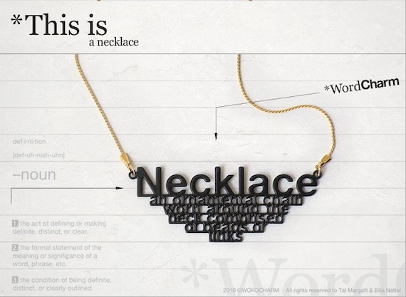 Word charm / Necklace in black
