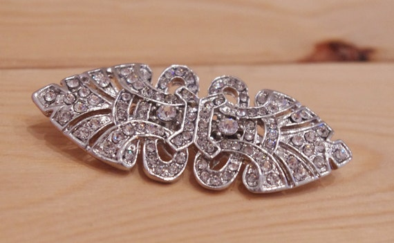 Art Deco Brooch - Bridal Rhinestone Vintage Style Brooch