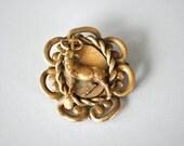 Vintage Brass Stag Bambi Brooch