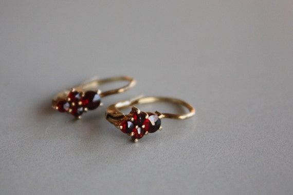 Antique Garnet stamped Earrings from Germany
