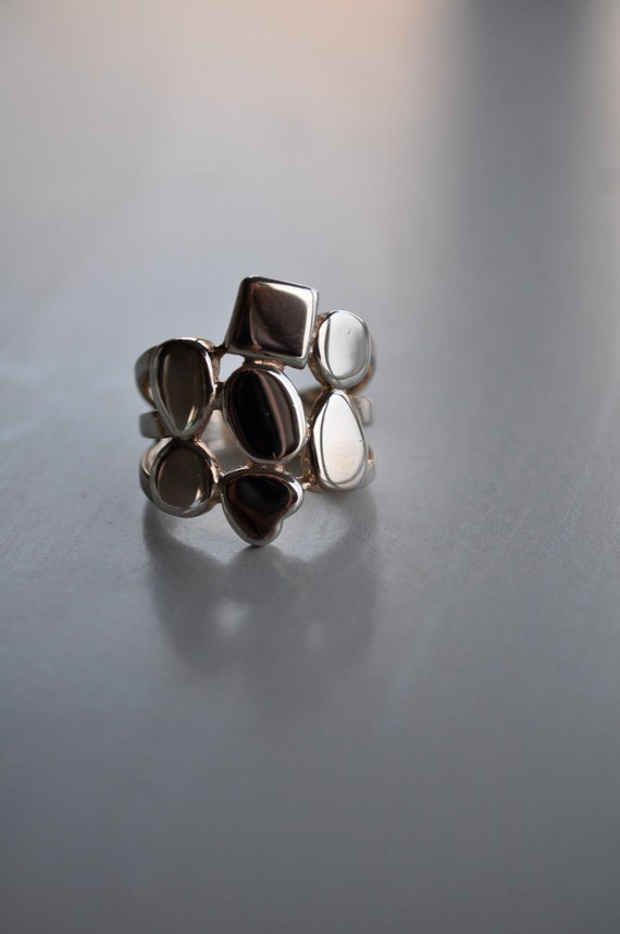 Vintage Modernist Geometric Pattern Ring
