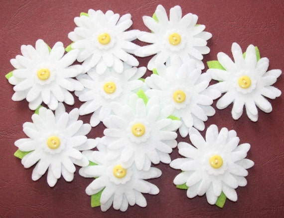 Felt Flower Embellishments Daisies - Set of 10 pieces White