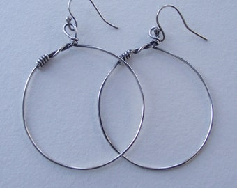 Twisted Too-Wrapped and Weaved Sterling Silver Hoop---Dangle Earrings