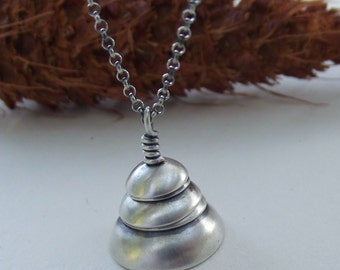 Layer Cake---Stacked Sterling Silver Dome Necklace---Antique Satin Finish---Rollo Chain