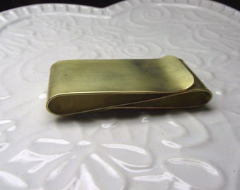 Brass Money Clip Double Sided--- S Shape Shiny  Finish with Your Choice of Texture