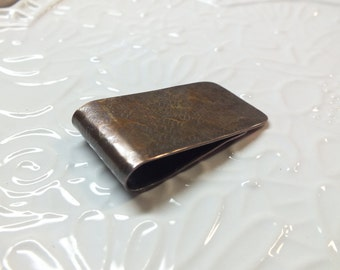 Satin  Short and Chubby Textured Copper Money Clip---Antiqued Finish