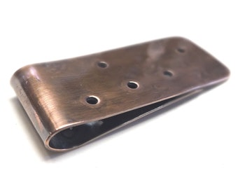 Copper Money Clip---Antique Finish with Texture and Holes