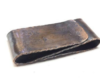 Copper Double Sided Money Clip--- S Shape Antique Finish with Pleated Edges