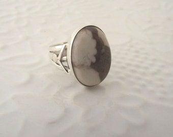 Peanut Wood Jasper Sterling Silver Ring---Size 8