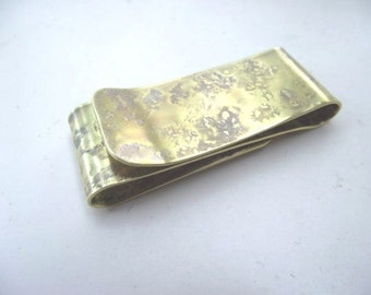 Brass Money Clip  Double Sided----S Shape Antique Finish with Your Choice of Texture