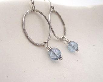 Calm Water---Sterling Silver Hoop  with Light Blue Czech Glass Bead