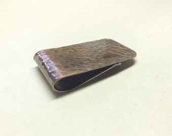 Short and Chubby Dimpled Textured Copper Money Clip---Antiqued Finish