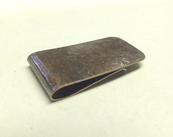 Satin Textured  Copper Money Clip ---Antiqued Finish