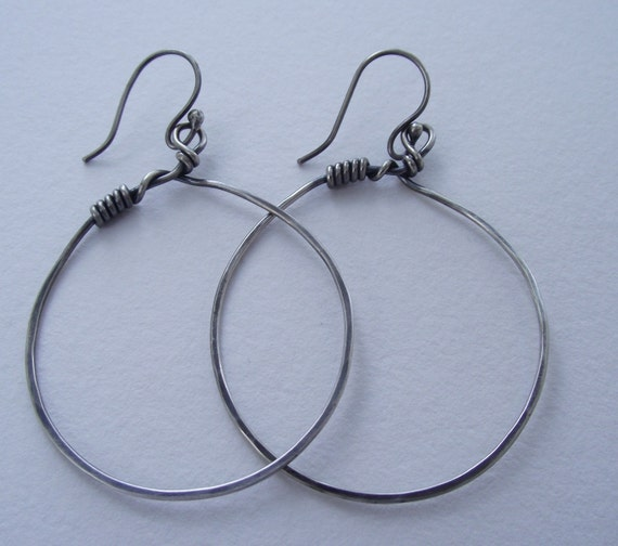 Twisted-Wrapped and Weaved Sterling Silver Hoops---Dangle  Earrings