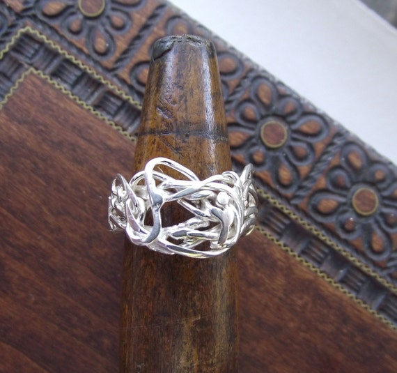Whirlwind of Emotions---Bright Sterling Silver Weaved--Woven--Melted--Formed---Size 9.5