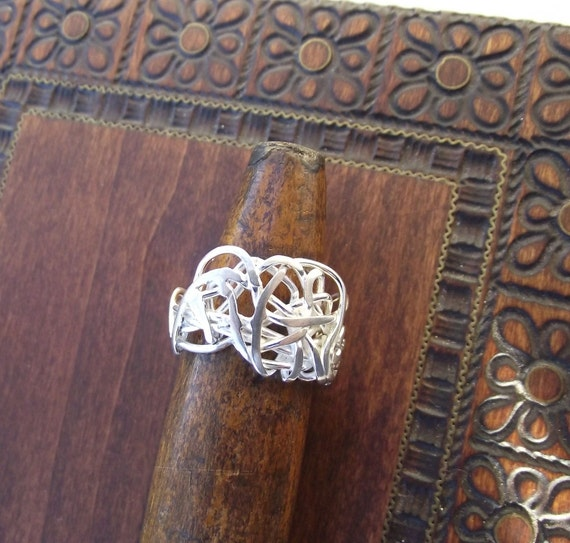 Winding Path---Weaved, Woven, Wrapped Sterling Silver Wire Ring----Size 6 Shiny Finish