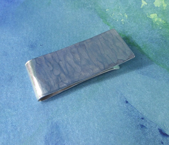 Mens Sterling Silver Money Clip---Shiny  Finish with Subtle Texture