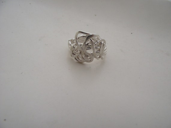 Bright Sterling Silver Weaved--Woven--Melted--Formed---Size 9