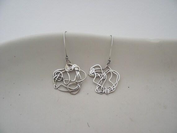 Scribbles----Sterling Silver Earrings---Woven, Wound, Winding