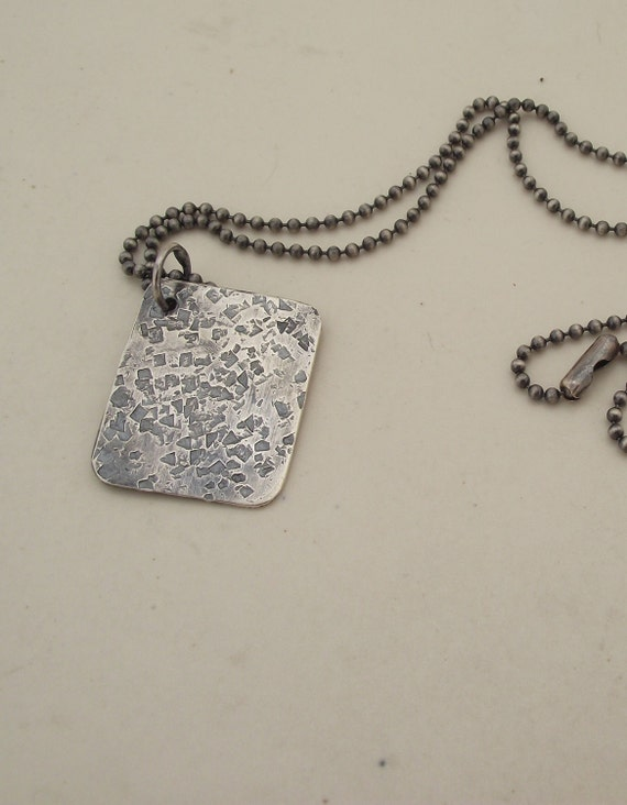 Mens Sterling Silver Necklace with Beaded Chain---Triangle Texture