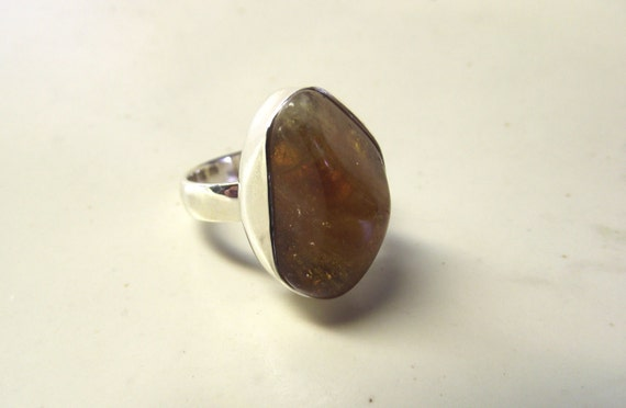 Orange Freeform Sunstone Ring and Sterling Silver Ring----Size 7