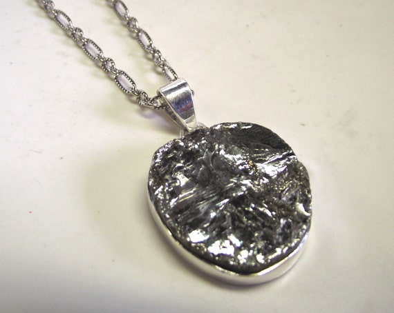 Large Raw  Pyrite and Sterling Silver  Necklace with Antique Finish